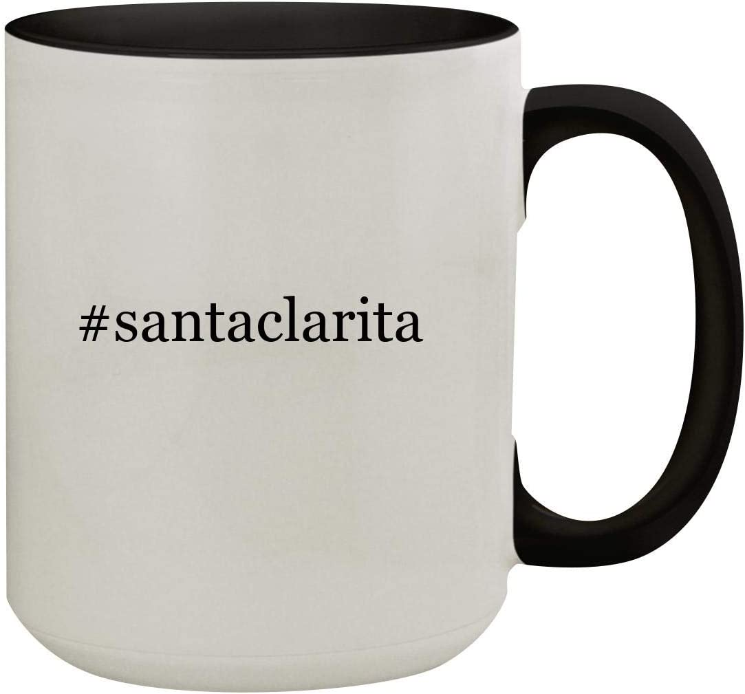 #santaclarita - 15oz Hashtag Colored Inner & Handle Ceramic Coffee Mug, Black