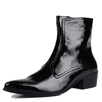YC Otoño Invierno Cuero Genuino para Hombre Martin Botas De Charol Moda Dedo del Pie Puntiagudo Botines Motocicleta Ejército Zapatos Militares para ...