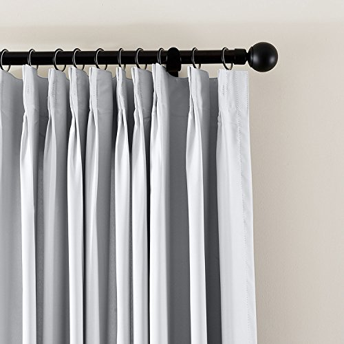 (cololeaf Pinch Pleated Blackout Curtains Room Darkening Drapes Thermal Insulated Solid Window Treatment Pair Bedroom, Nursery, Living Room,French Door,Greyish White 52W x 84L Inch (1 Panel))