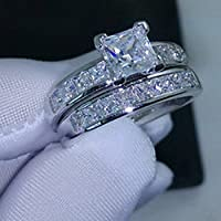 Lovely Ring - Valueable Princess Cut Topaz Cz 10KT White Gold Filled Wedding Ring Set Size7