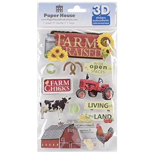 Paper House Productions STDM-182E 3D Stickers, Farm Raised