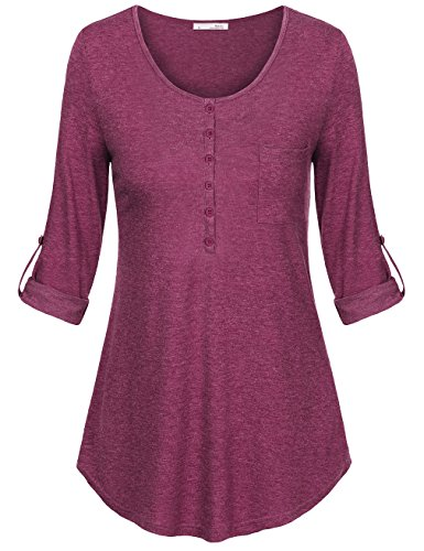 Messic Womens Sleeves Casual Shirts