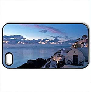 Santorini (Greece) - Case Cover for iPhone 4 and 4s (Houses Series, Watercolor style, Black)