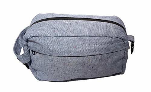 Mens   Ladies Travel Zipped Toiletry Makeup Canvas Bag  Gray