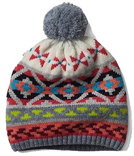 Gap Womens Crazy Fair Isle Pom Pom Merino Wool Blend Winter Hat One Size