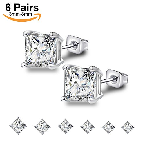 Anni Coco 18k White Gold Plated Stainless Steel Square Princess Cut Clear Cubic Zirconia Stud Earrings Set, 3mm-8mm 6 Pairs (Square Zirconia)