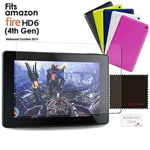 TECHGEAR [Pack of 2] Anti Glare Screen Protectors for New Amazon Fire HD 6/6 inch (2014 Edition / 4th Gen / HD6) – Premium Matte Screen Protector Covers With Cleaning Cloth + Application Card