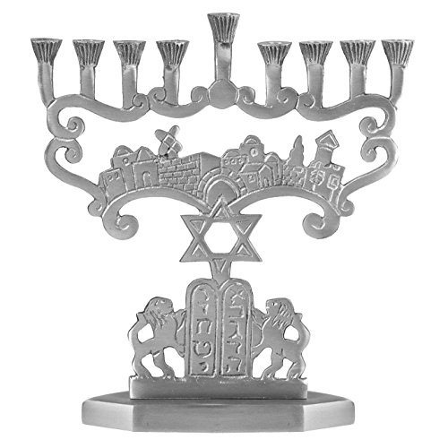 Judean Lions Artistic Aluminum Candle Menorah - Fits all Standard Chanukah Candles - Star of David and Tablets Design - by Ner Mitzvah