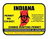 Indiana State Zombie Hunting Permit License Vinyl Sticker Decal
