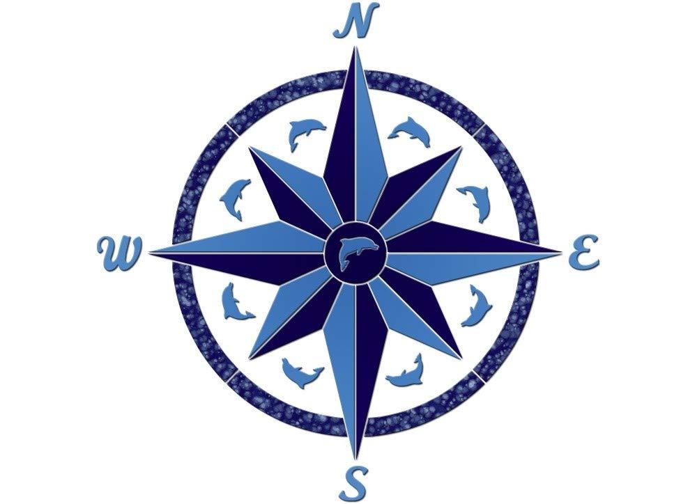 Compass 3 Ceramic Swimming Pool Mosaic (36'' x 36'')