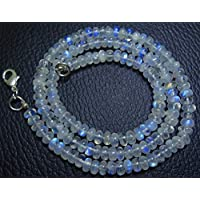 Jewel Beads Natural Beautiful jewellery 1 Strand Natural 18 inch AAA Blue Flash top quality Rainbow Moonstone Smooth Rondelle beads Necklace 4.5 TO 5 MMCode:- JBB-3530