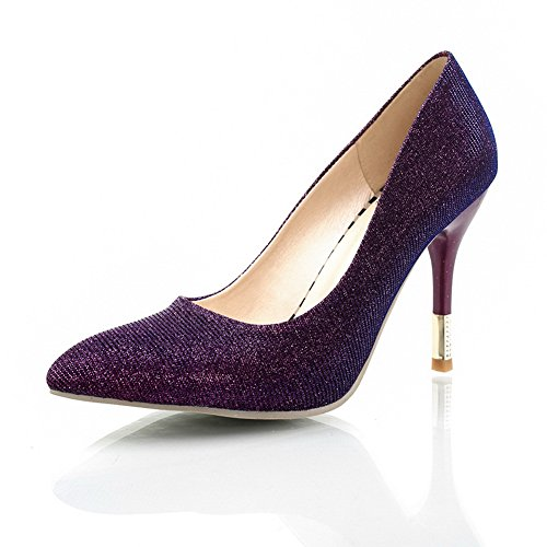Pull On High Soft Shoes BalaMasa Womens Pumps Heels Material Purple wqvxIt4
