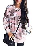 Sidefeel Women Long Sleeve Crewneck Pullover Camo Print Sweatshirt Jumper Top XX-Large Pink