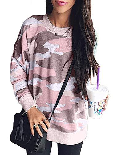 (Sidefeel Women Long Sleeve Pullover Camo Print Sweatshirt Jumper Medium Pink)