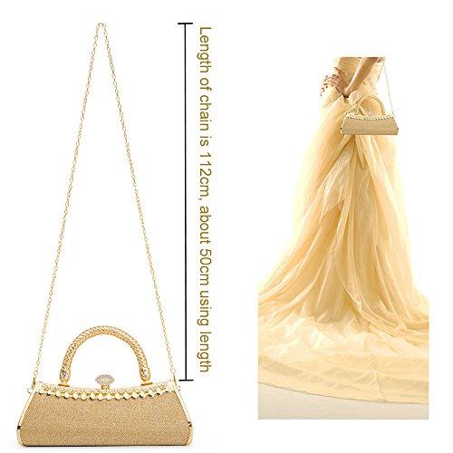 Clutch Gold Damen Tasche mit Kristall Abendtasche Handtasche Schultertaschen Umhängetasche Shoulder Taschen Brauttasche Glitzer mit Schulterkette PU-Leder Griff Party Hochzeit Geschenk für Sie LONGBLE