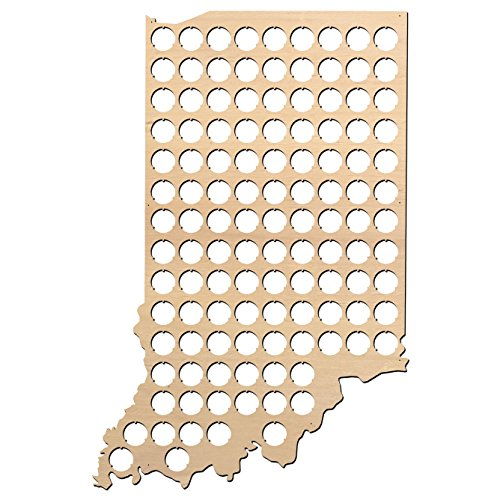Indiana Beer - Indiana Beer Cap Map - 15.1x23 inches - 118 caps - Beer Cap Holder Indiana - Birch Plywood - Large Size
