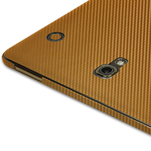 Skinomi® TechSkin - Samsung Galaxy Tab S 8.4 Screen Protector + Gold Carbon Fiber Full Body Skin / Front & Back Premium HD Clear Film / Ultra High Definition Invisible and Anti Bubble Crystal Shield