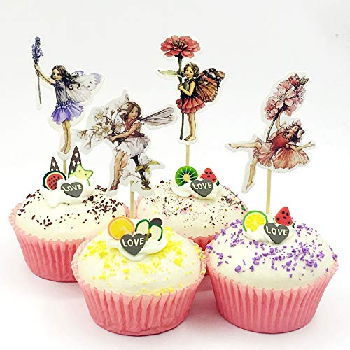 iMagitek 48 Pack Pretty Fairy Flower Cupcake Topper Picks, Cake Toppers Decorations for Fairy Flower Theme Party, Girls' Birthday Party, Wedding -