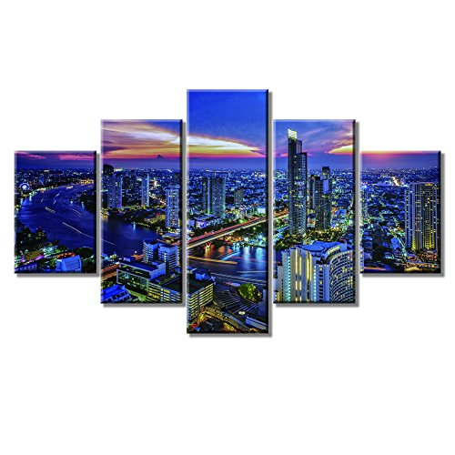 5 Panel Large HD Printed Painting Bangkok City Night View Wall Art Canvas Prints Art Home Decor For Living Room Framed Ready to Hang -