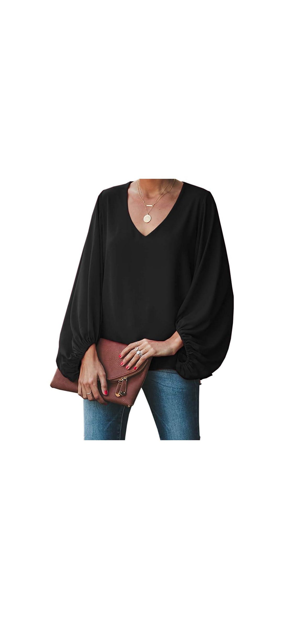 Womens Oversized Lantern Sleeve Chiffon Blouse Tops Loose