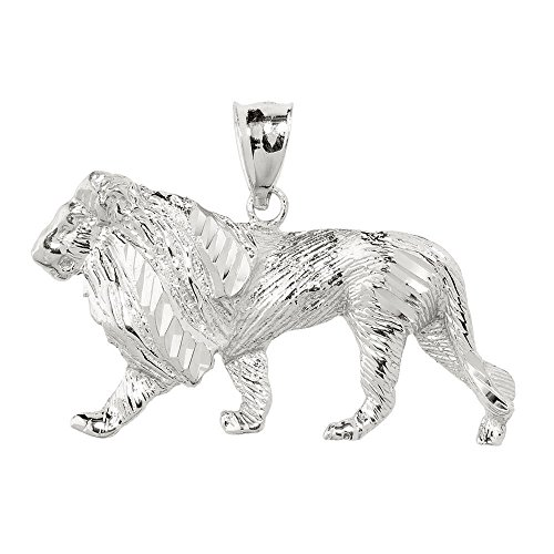 (Men's 925 Sterling Silver Lion Necklace Pendant)