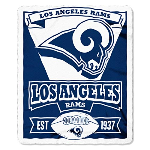 Los Angeles State Football - NFL Los Angeles Rams Marque 50-inch by 60-inch Printed Fleece Throw, Los Angeles Rams, 50-Inch x 60-Inch