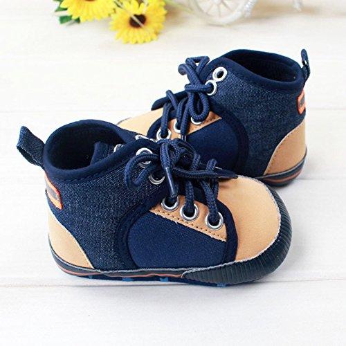 Etrack-Online Baby Sneakers - Zapatos primeros pasos de Lona para niño Azul