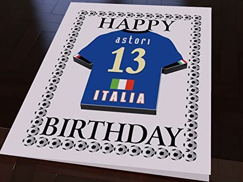 INTERNATIONAL WORLD CUP de fútbol camisa Tarjetas de cumpleaños - cualquier nombre, cualquier número, cualquier equipo - de forma gratuita! Italy ...