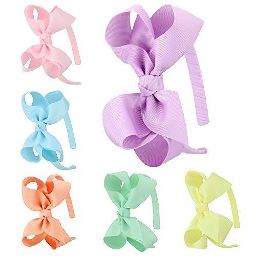 7Rainbows Girls Boutique Grosgrain Ribbon Headband with Bows(6 pieces a set) (FS007-2) ()