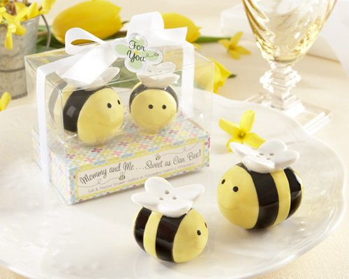 Mommy and Me...Sweet as Can Bee Ceramic Honeybee Salt and Pepper Shakers [SET OF 24] ()