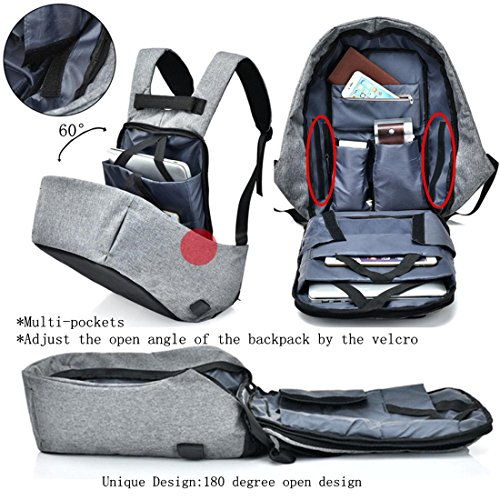Amazon.com: Water Resistant Smart Business Backpack Anti-Theft Travel Laptop Backpack USB Port Headphone Jack College School Bag Men & Women Grey: Computers ...