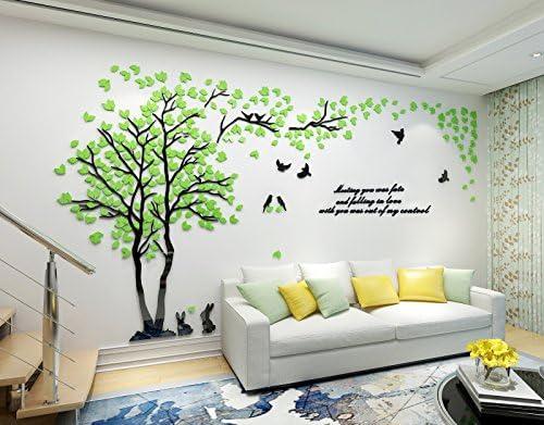 Asvert 3D Wandtattoo Shrinkable Acryl Wandaufkleber Wand Dekoration TV Sofa Hintergrund Deko Stereo Sticker Herzchen Blätter - Muster 3