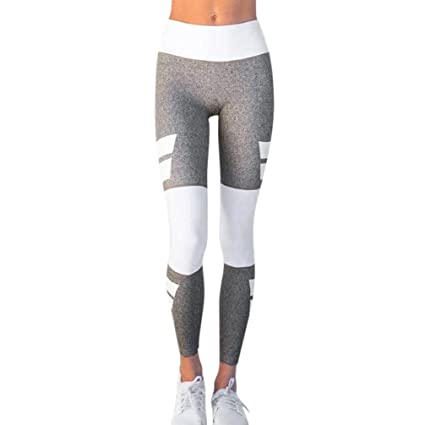 77ede82fb73bb Women Sexy Fold Over Waistband Yoga Leggings Active Pants Splice Block  Sport Trousers(S,