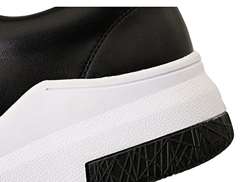 Round Lace Fashion Ladies Low Black Flat Skatboard Shoes Top Up VECJUNIA Toe q17YwYS