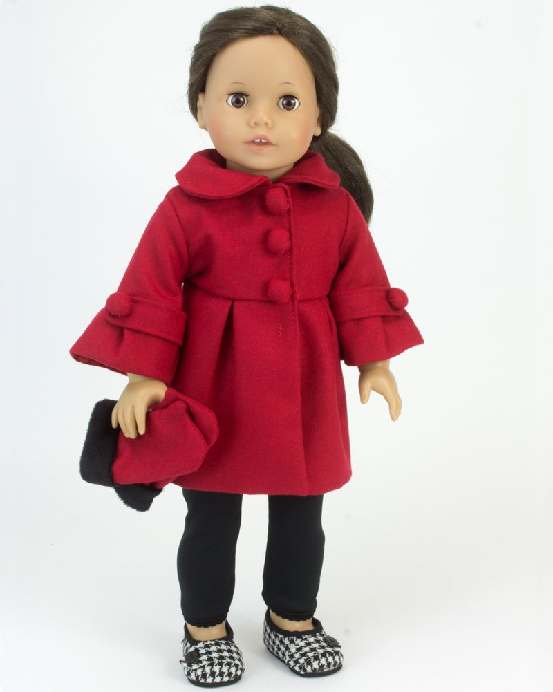 Red Dress Coat 3/4 Sleeve Long Fur Trim Gloves for 18