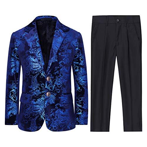 Boyland Boys Jacquard Suit Slim Fit Tuxedo Suits Jacquard Notch Lapel Tux Jacket Pants Party Formal Wear Blue