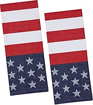 Flag Stars and Stripes Patriotic Cotton Jacquard Kitchen Towels, Set of 2