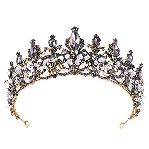 Wedding crown Redvive Top Luxury Elegant Crown Full Diamond Black Zircon Flower Headwear Headband Ladies