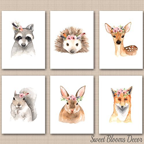 Canvas Rabbit Frame (Woodland Nursery Wall Art Girl Pink Flowers Animals Nursery Décor Forest Animals Bunny Rabbit Raccoon Fox Deer Decor UNFRAMED 6 PRINTS (NOT CANVAS)C547)