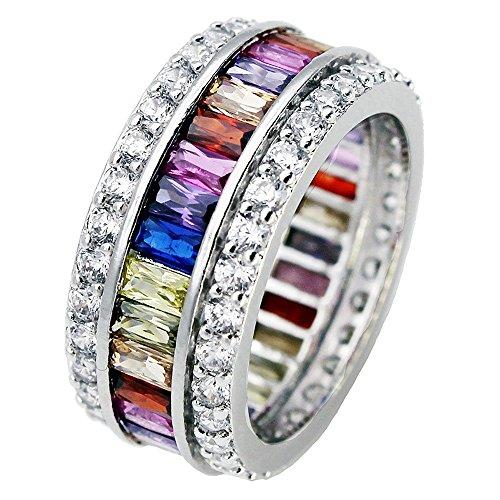Multi Color Gems Ring (Sinlifu Silver Plated Multicolor Ring, Wedding Gemstone Garnet Amethyst Morganite Band for Women (7))