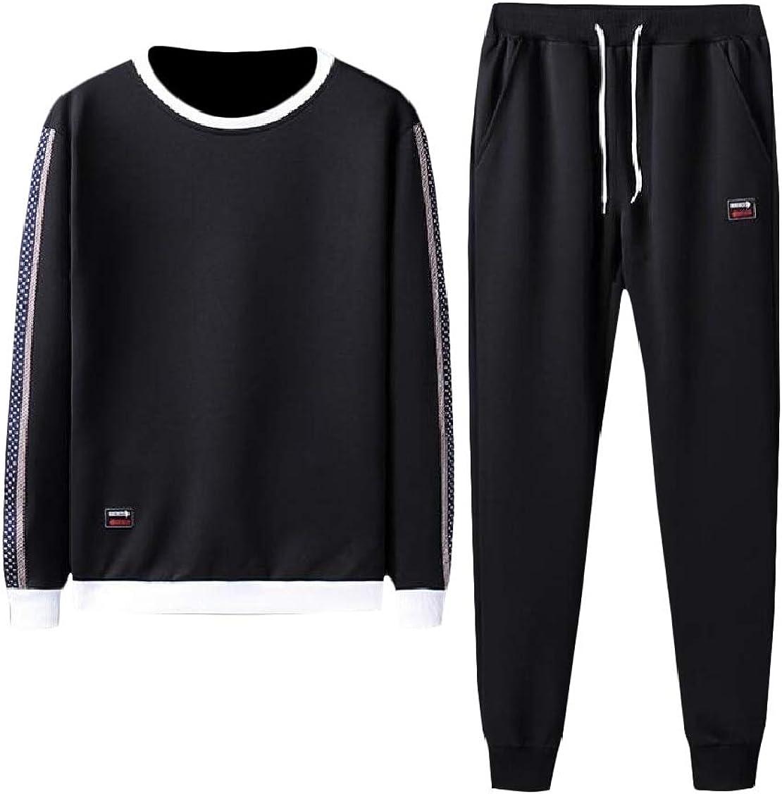 Hajotrawa Mens Sweatshirt Juniors Sports 2 Piece Pants Slim Tracksuit Set Black1 XXS