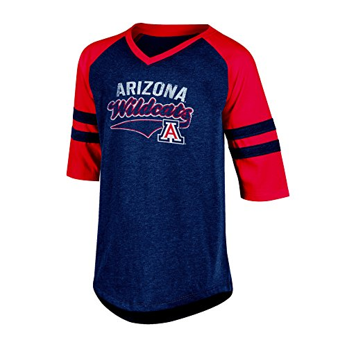 NCAA Arizona Wildcats Girl's 3/4 Raglan Sleeve V-Neck Tunic Tee with Sleeve Taping, Small, Navy - 3/4 Football Sleeve
