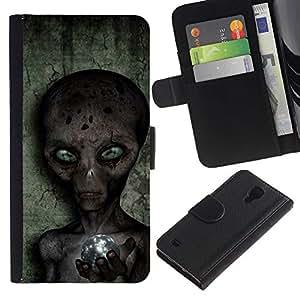 For SAMSUNG Galaxy S4 IV / i9500 / i9515 / i9505G / SGH-i337,S-type® Sci-Fi Ufo Conspiracy Grey - Dibujo PU billetera de cuero Funda Case Caso de la piel de la bolsa protectora