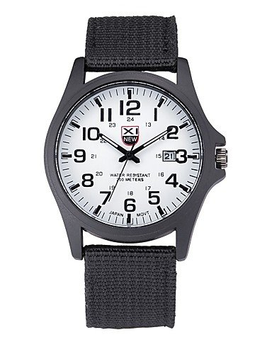 Xin & ZA Hombre Militar reloj Quartz Calendario cinta de tela Cómodo Negro/Azul Marca