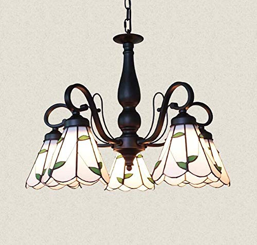 GAOLIQIN American Rural Tiffany Style Chandelier Stained Glass Pendant Lights Living Room Bedroom Dining Room Decoration Pendant Ceiling Lights (Size : 5 Heads)