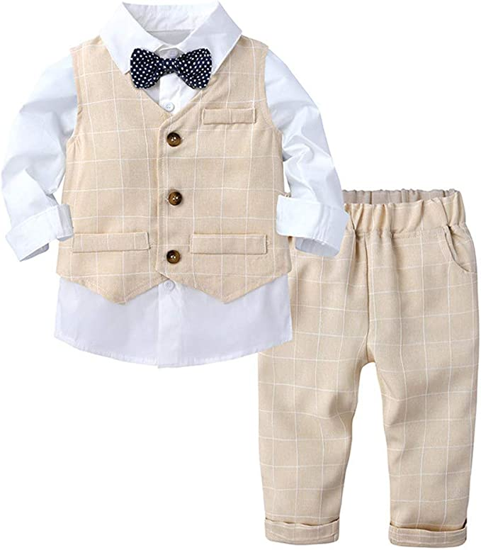 LittleSpring Little Boys Pants Clothing Sets Gentleman Size 2T Burgundy
