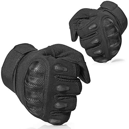 AXBXCX Touch Screen Assault Plastic Hard Knuckle Full Finger Tactical Gloves for Army Military Motorcycle Fishing Cycling Racing Hunting Hiking Airsoft Paintball Shooting Black-XL