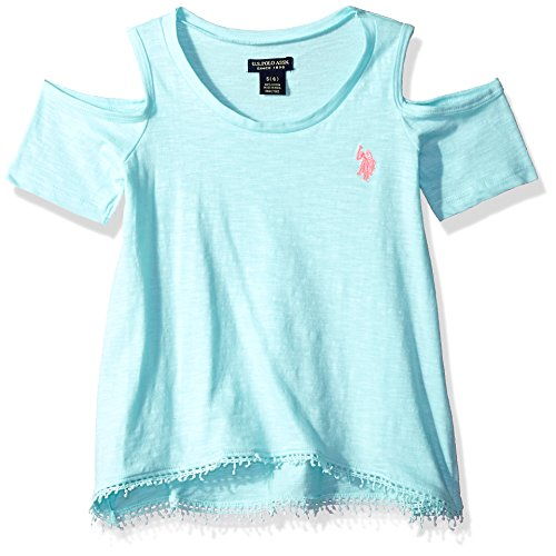 U.S. Polo Assn. Big Girls' Short Sleeve Fashion T-Shirt, Cold Shoulder Coral Embro Light Mint, 7/8