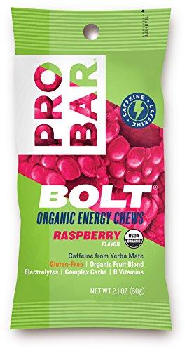PROBAR - BOLT Organic Energy Chews - Raspberry - USDA Organic, Gluten-Free, Superfruit Blend, 20mg Caffeine from Yerba Mate, B Vitamins - Pack of 12
