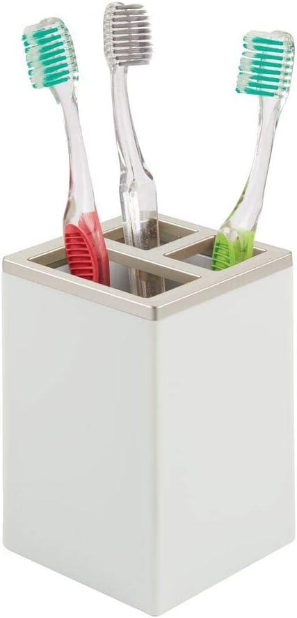 Grigio Chiaro//Argento Opaco portasapone e Bicchiere igienico Dispenser Sapone in plastica Robusta Portaspazzolini mDesign Set da 4 Accessori Bagno